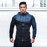 2018 New Design Zipper Jacket Men Patchwork Hoodie Bodybuilding Thin Hoodies Sweatshirts Gyms Muscle Fit Clothes