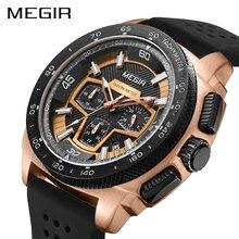 MEGIR Chronograph erkek spor saat moda silikon ordu askeri saatler Relogio Masculino kuvars kol saati saat erkekler 2056