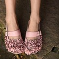 Genuine leather handmade women's shoes vintage flower slippers open toe sandals fairy casual sandals 203-1
