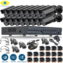 цена на DIY 16CH CCTV System 720P HDMI AHD CCTV DVR 1.0MP IR Outdoor Security Camera 1200 TVL Metal Housing Camera Surveillance Kit