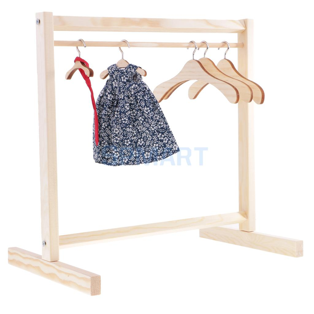 1 6 bjd dolls natural wooden garment rack clothes hanging coat dress clothes organizer 30cm for bjd yosd dolls in dolls accessories from toys hobbies on