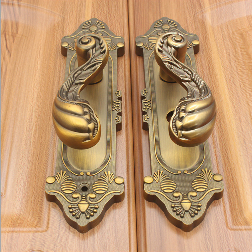 THOM KING Vintage Yellow Bronze Wood Door Locks Zinc Alloy Interior Door Handle Locks Bedroom Living Room Door Lock High Quality factory interior door lock living room space aluminum mechanical lockset wholesale quality assuranced handle locks