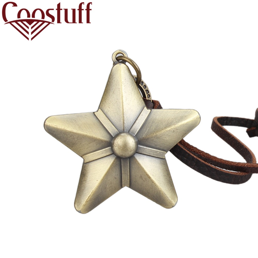 Bronze Star Men Women Long necklaces & pendants kolye Women leather Necklace collier col ...