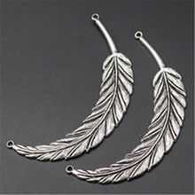 цена на WKOUD 2pcs Antique Silver Curved Blade leaf Charm Necklace Bracelet DIY Fashion Jewelry Alloy Connector