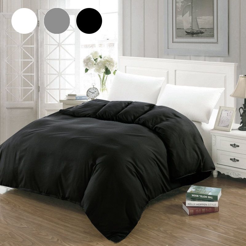 Simple Duvet Cover White Black Gray Comforter/Quilt/Blanket Case Twin Full Queen King Double Single Bedding 220x240 200x200 140