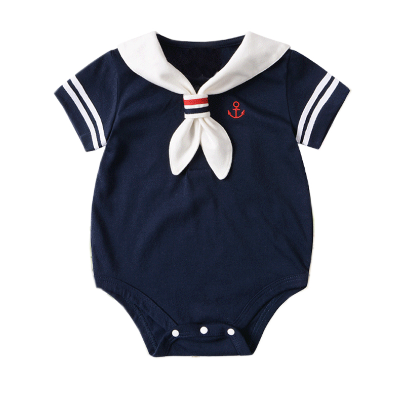 2019 Summer Baby   Romper   Short Sleeved Girls Dress Cotton Newborn   Romper   Boys Clothes Girls Body Suit Baby Navy Sailor uniforms