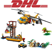 2017 New 1298Pcs City Figures Jungle Air Drop Helicopter Model Building Kit Blocks Bricks Toy For