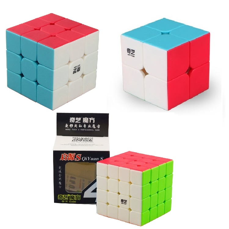 QIYI Professional 2x2 3x3 4x4 3pcs/Set Speed Magic Cube Puzzle Toys Fidget Cube NO Sticker For Children Adult Education Toy zcube set 4pcs box carbon fiber neo cube dodecahedron 2x2 3x3 4x4 5x5 skew cube speed puzzle toy gift