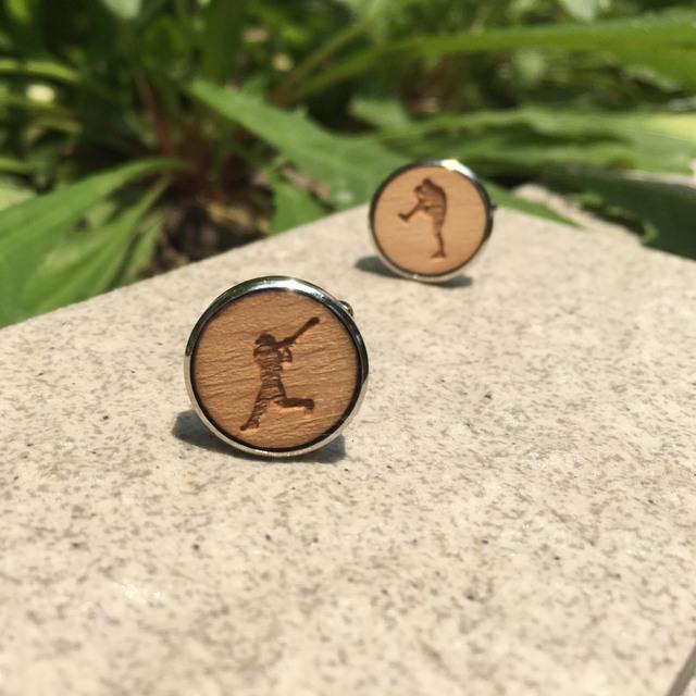 Baseball Player Laser Cut Wood Cufflinks Sport Jewelry Groomsmen Wooden X 1 Pair