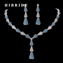 HIBRIDE Beautiful White And Blue CZ Ston Pave Women Jewelry Sets Female Necklace Earrings For Travel Party Show N-187