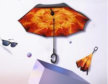 Reverse up-take-up straight rod automobile advertising umbrella non-wet umbrella windproof umbrella overturn umbrella