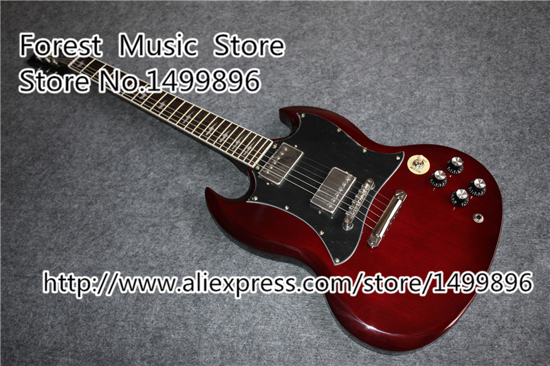 High Quality Angus Young SG Electric Guitars In Aged Cherry China OEM Chrome Hardware Guitar Body Custom Available high quality musical instrument cherry sunburst classical hollow guitar body es jazz guitars china lefty available