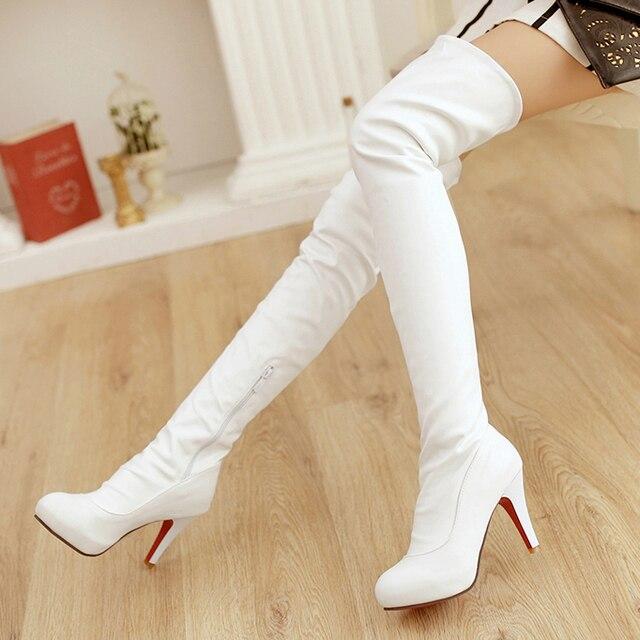 Hiver noir cuisse haute bottes femmes fond rouge talons hauts bottes 2015  sur le genou bottes