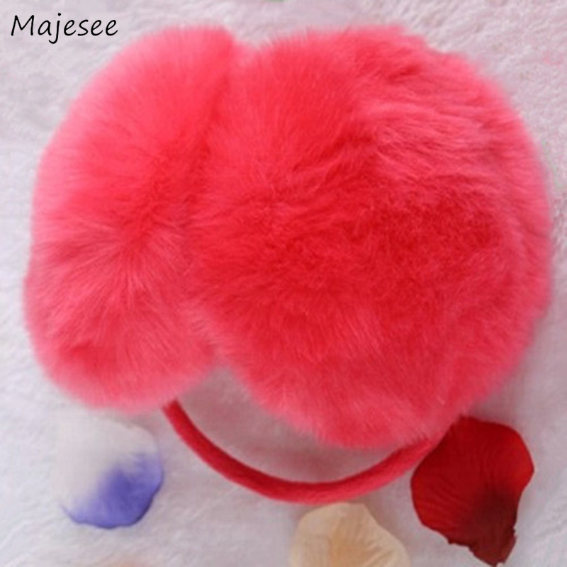 Earmuffs Women Winter Warm High Quality Rabbit Faux Fur Solid Womens Earmuff Korean Style All-match Leisure Cute Students Daily