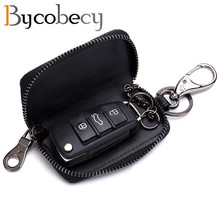 BYCOBECY New Fashion Ladies Leather Car Key Bag Small Bag Mini Men's Key Purse Leather Waist Bag Key Holder Organizer Key Case цена