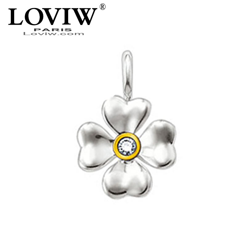 Crystal CZ zirconia Vogue Clover Leaf Luky Charm pendant with eyelet Fit DIY Necklace & Bracelet, Party accessories for Women