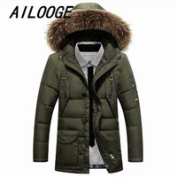 Man Thick Warm white duck down jacket with Fur hooded Winter Jacket Male Collar Parkas Hooded Coat
