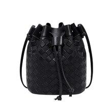 Vintage Fashion Small Women Bucket Bags Female Pu Leather Tassel Shoulder Bags Girls Drawstring Messenger Crossbody Bag girls tassel flat pu crossbody bag