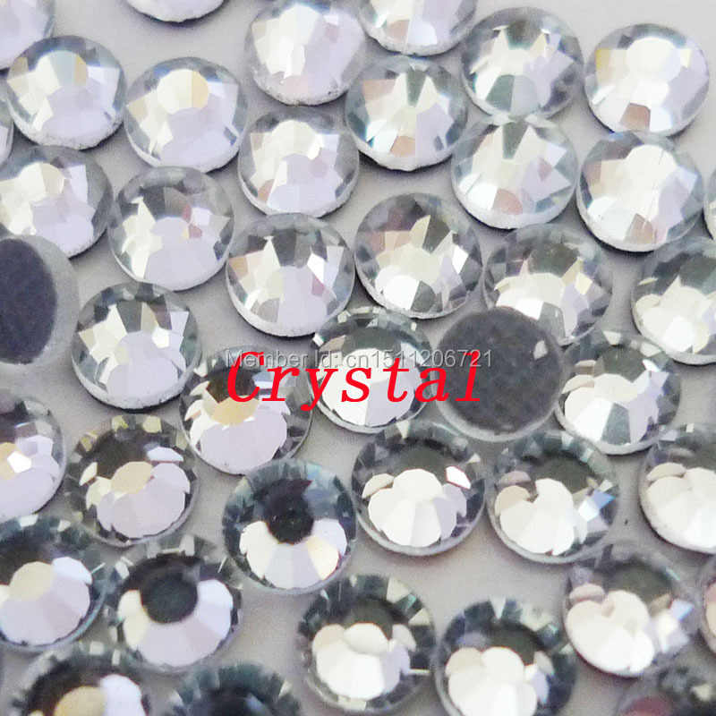 AAAA Clear HotFix iron on Rhinestones SS6  SS10  SS16 SS20 SS30 SS34 SS40 DMC Flat Back glass crystals for shoes nail decoration