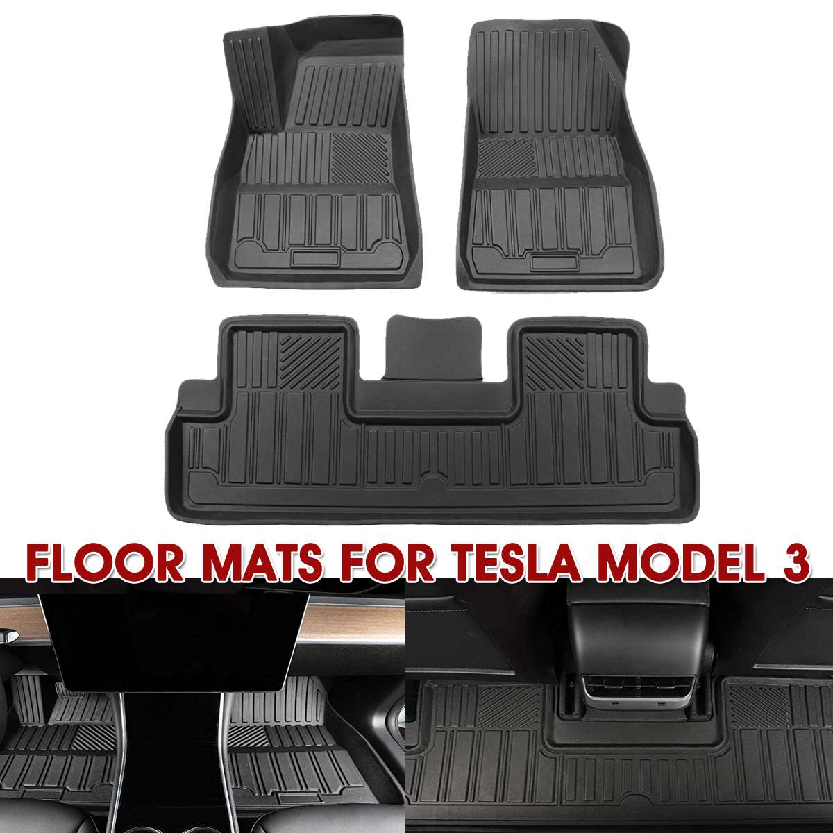 Auzan Waterproof All-Weather Fits Car Floor Mat Auto Interior Anti-dust Seat Cushion Mat Front Rear Protector for Tesla Model 3(China)