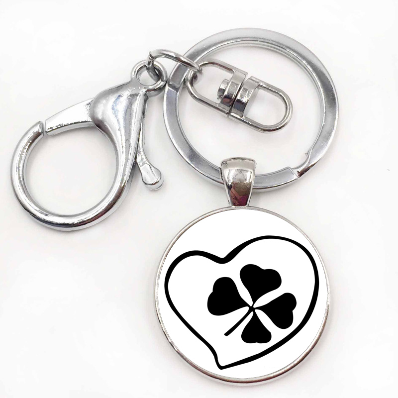 Can Customize Any Words Name Green Leaf Keychain Good Luck
