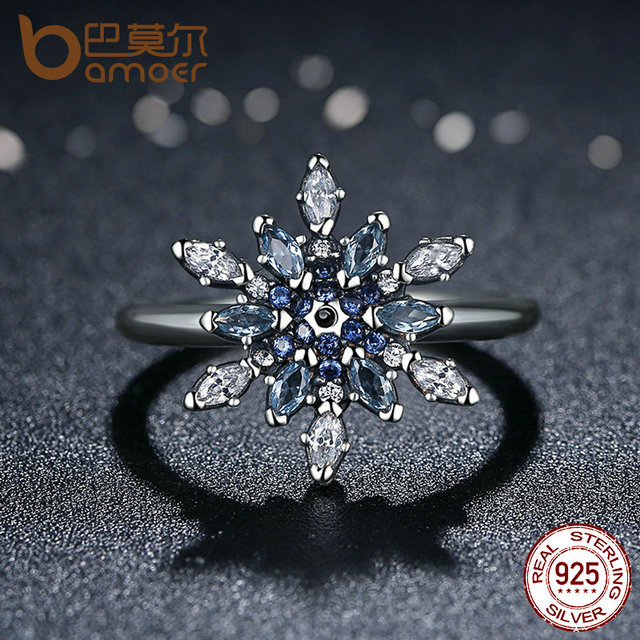 Sterling Silver Crystalized Snowflake Rings