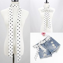 NEW Woman small long silk scarf printing dots fashion Hair Ribbons for girl Handbag Apparel Accessories japanese