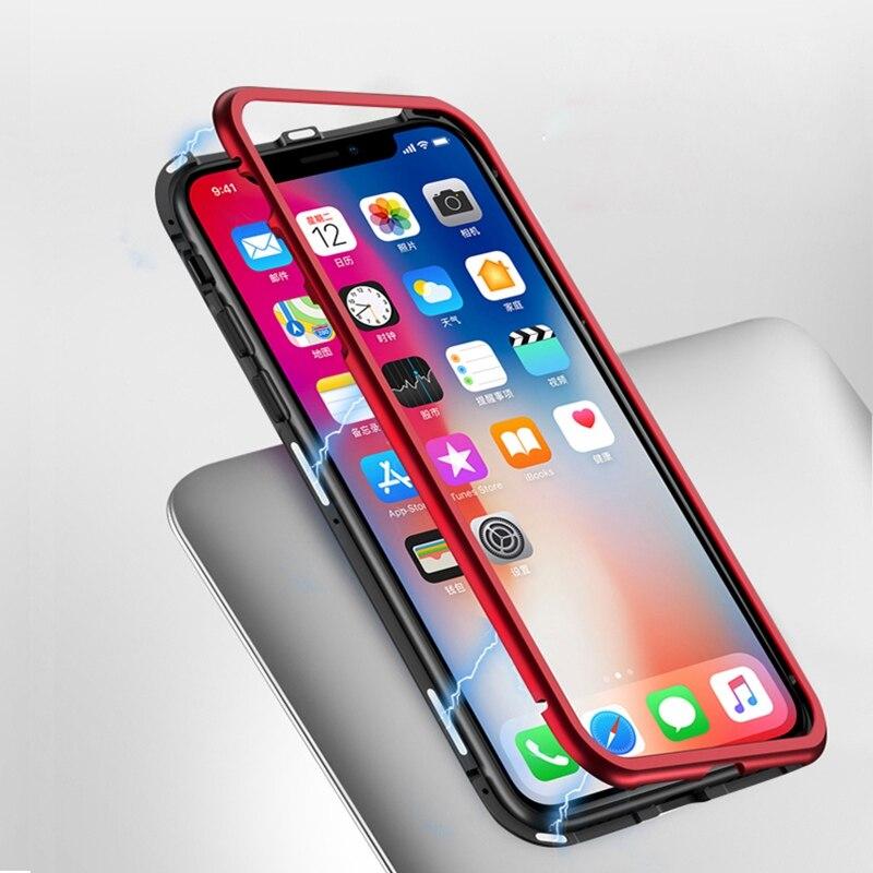 Съемная Магнитная адсорбции телефона чехол для iPhone X корпус металлический каркас + закаленное Стекло Вернуться Мобильный телефон чехол для ...