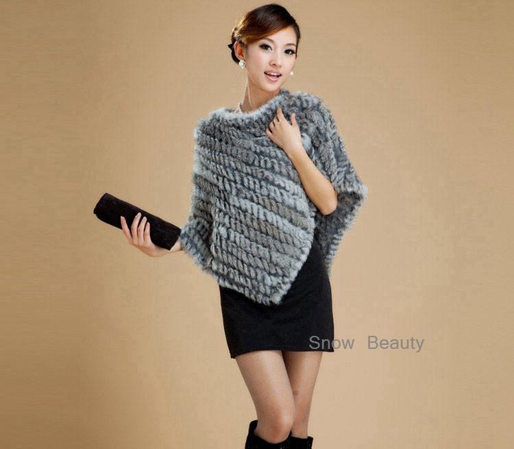 natural real knitted rabbit fur poncho shawl (15)
