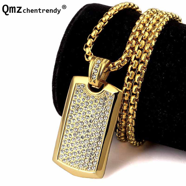 Top Qualtiy CZ Crystal Army Dog Tag Pendants Jewelry Men Hip Hop Rapper  Bling Iced Out 5b4b41aab