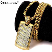 Top Qualtiy 18K Gold Plated Army Dog Tag Pendants Jewelry Men Hip Hop Rapper Iced Out
