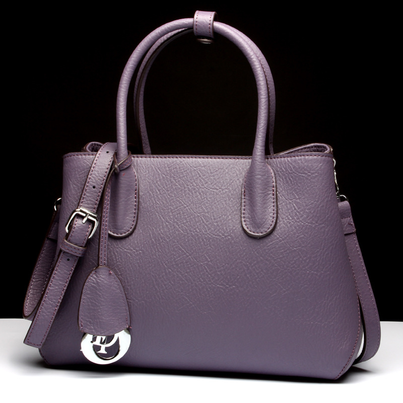 5d618840c547 2017 Genuine Leather Boston Bag Women s Fashion Handbag Top-handle Bag  Crossbody Handbags European and American Style Purple Bag