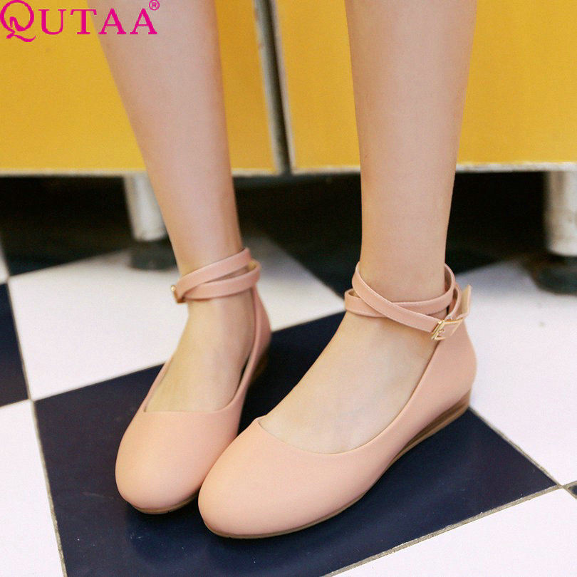 ФОТО QUTAA White Ankle Strap Ladies Shoes Woman Shoes Wedge Low Heel Woman Pumps PU Leather Women Party Shoe Size 34-39