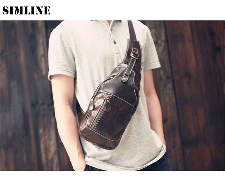 ФОТО New Brand Vintage Casual Handmade 100% Genuine Cow Leather Cowhide Men Male Mens Chest Bag Shoulder Cross Body Bag Bags For Man