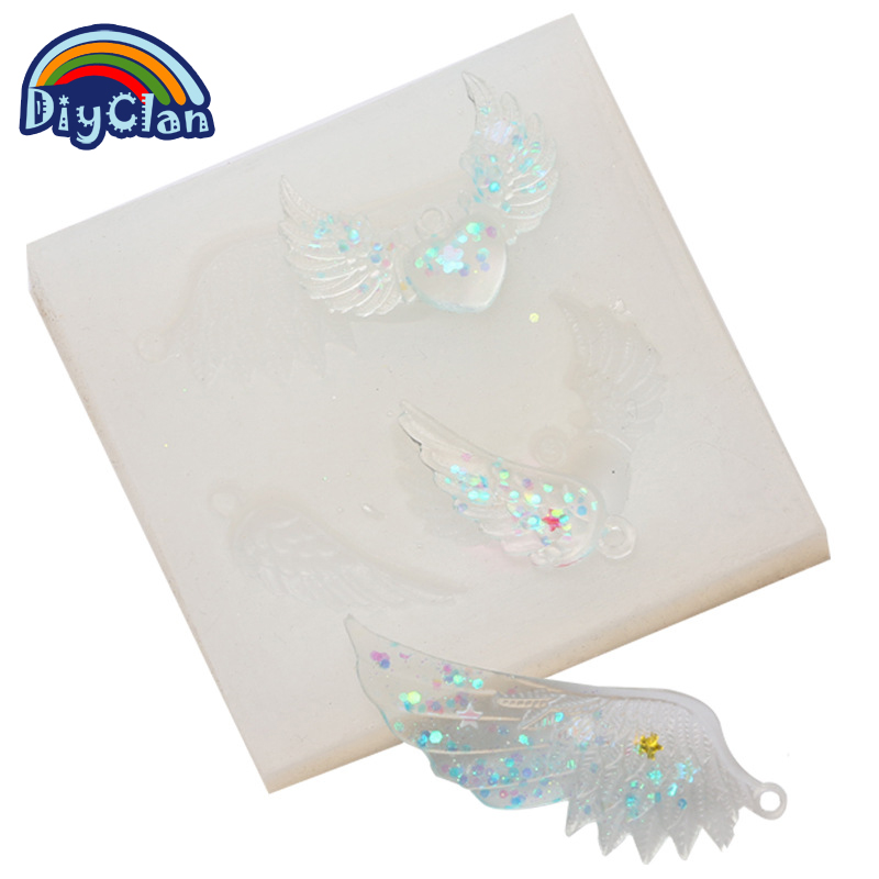 Angel Wings feathers diy resin decorative craft silicone mold for epoxy resin jewelry making pendant resin jewelry DIY tools