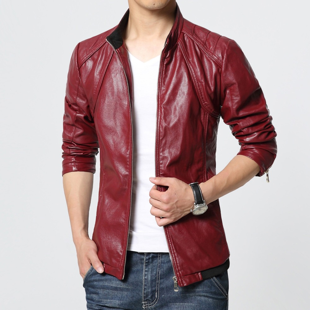 men leather jackets and coats red black blazer top man leather jacket veste homme cuir chaqueta. Black Bedroom Furniture Sets. Home Design Ideas
