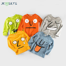 Autumn Winter Cotton Kids T Shirt Funny Face Long Sleeve Baby Boys Girls T-Shirt Children Pullovers Tee Boy Girl Clothes