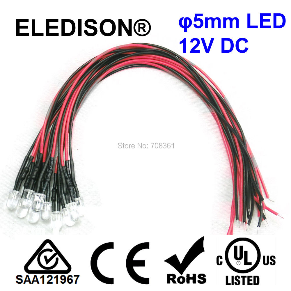 Eclairage Led 12v Maison Us 15 12v Dc Mini Led 5mm With 20cm Cable Signal Light White Red Green Blue Rgb Changing Colors Boat Yard Home Decoration Diy Lighting In Led