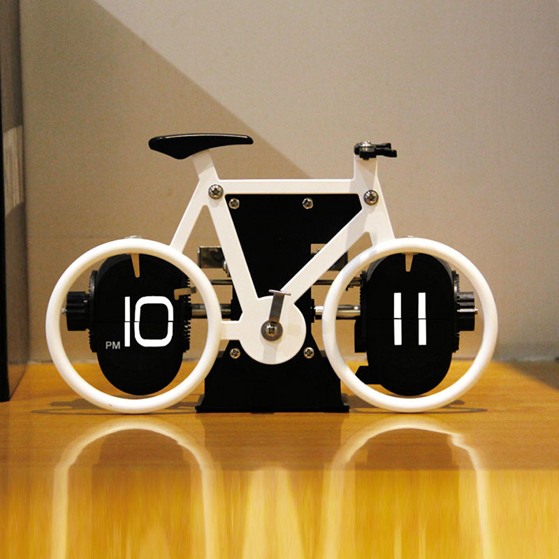 5Color Bicycle Table Clock Flip Down Clock Auto Flap Digital Clocks Retro Flip Clock Vintage Wall Novelty Desk Watch Party Gift
