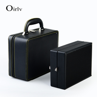 Oirlv New Handmade PU Leather Travelling Case With Zipper Handle 2 Tier Layers Jewelry Ring Earrings