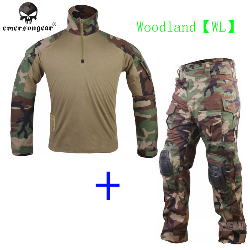 EmersonGear G3 BDU Woodland WL Combat uniform shirt with Pants and knee pads military game cosplay uniform hunting ghillie suit emersongear g3 combat uniform shirt