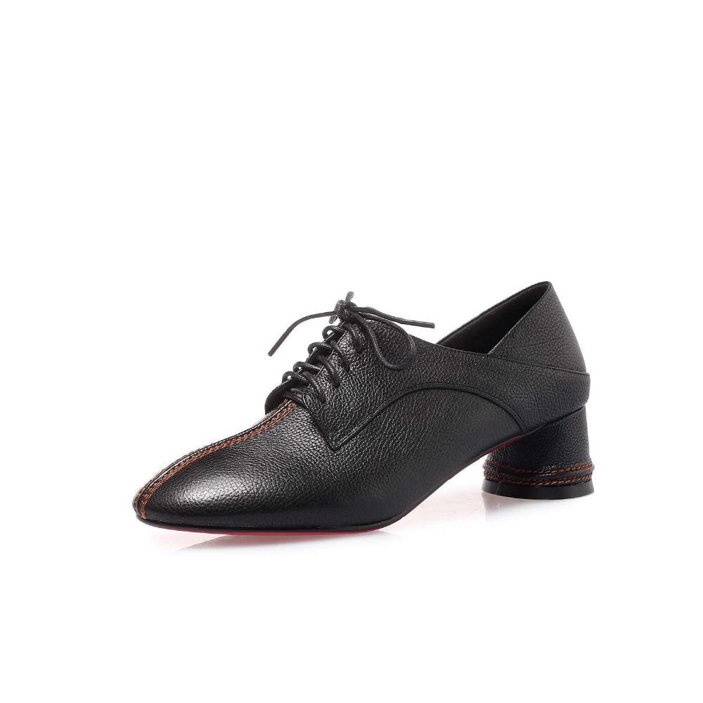 Schuh Luxus 2019 Europäischen Med Starke Vintage schwarzes Streetwear Für Beige Kleid Heels Größe Kuh Große Karree Spitze Stil L95 Frau Leder Up xr4ar7vnwX