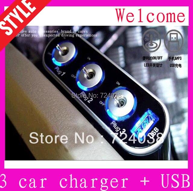 3 Way Auto Car Cigarette Lighter Socket Splitter 12V Charger Power Adapter PlugDC 12V + USB + LED light Control preferential