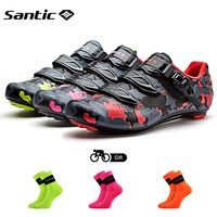 Santic Road Cycling Shoes Carbon Fiber Bike Shoes Men Professional Athletic Racing Team Sneakers Breathable Outdoor Sports Shoes