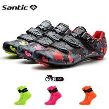 Santic כביש סיבי פחמן נעלי רכיבה אופני נעלי גברים מקצועי ספורט מירוץ צוות סניקרס לנשימה חיצוני ספורט נעליים