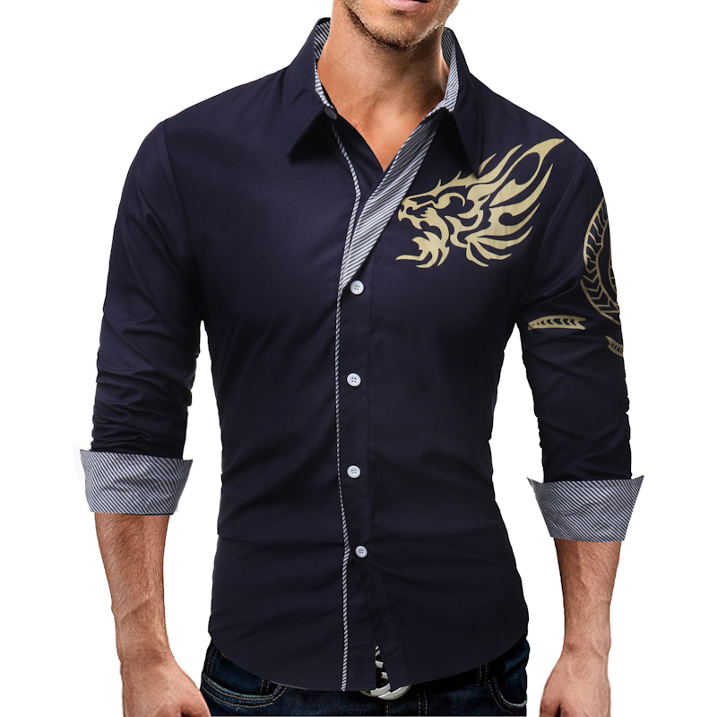 QINGYU 2017 New Men S Long Sleeved Dress Shirt Dragons Men S Casual Slim Lapel Male