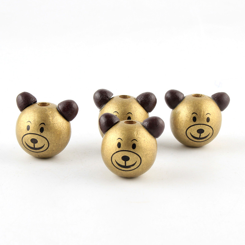 5PCS Wooden Lovely 3D Smiling Face Bear Beads Kids Wooden Ball Beads DIY  Children Jewelry Findings Gold - aliexpress.com - imall.com