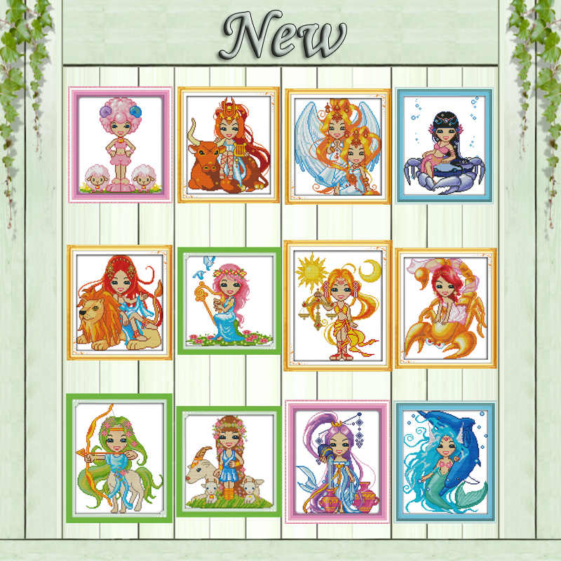 The twelve zodiac Aries Leo cartoon painting counted printed on canvas DMC 11CT 14CT Cross Stitch kits embroidery needlework Set