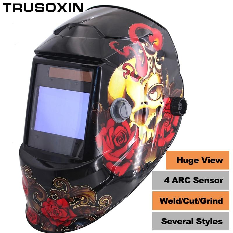 Новый Клоун большой вид Eara 4 дуги Сенсор DIN5-DIN13 Солнечная Авто Затемнение TIG MIG ММА шлифования сварочные маски/шлем /сварщик Кепки/очки