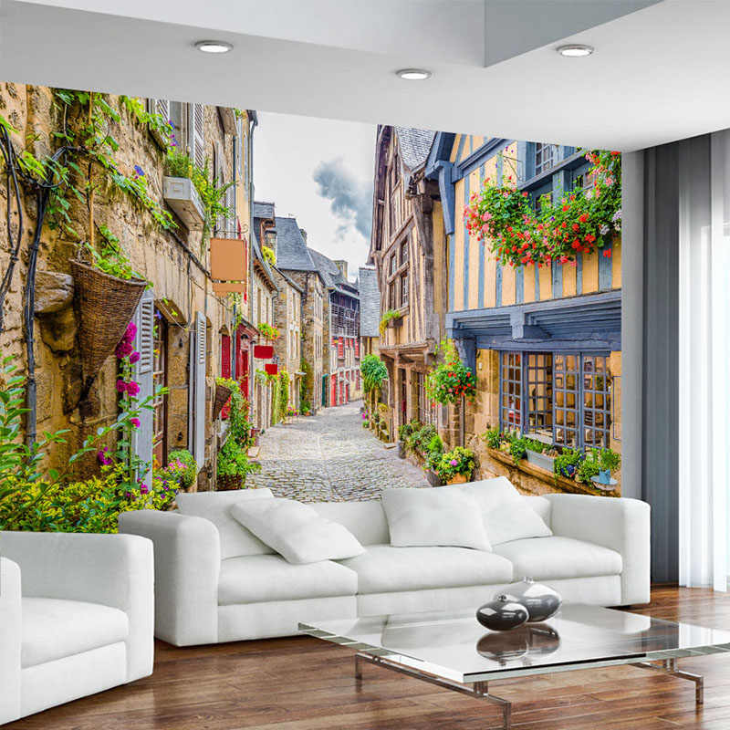 Photo Wallpaper 3D City Street Landscape Mural Restaurant Cafe Living Room TV Backdrop Wall Painting Papel De Parede 3D Paisagem